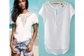 Sommerbluse med cut-outs